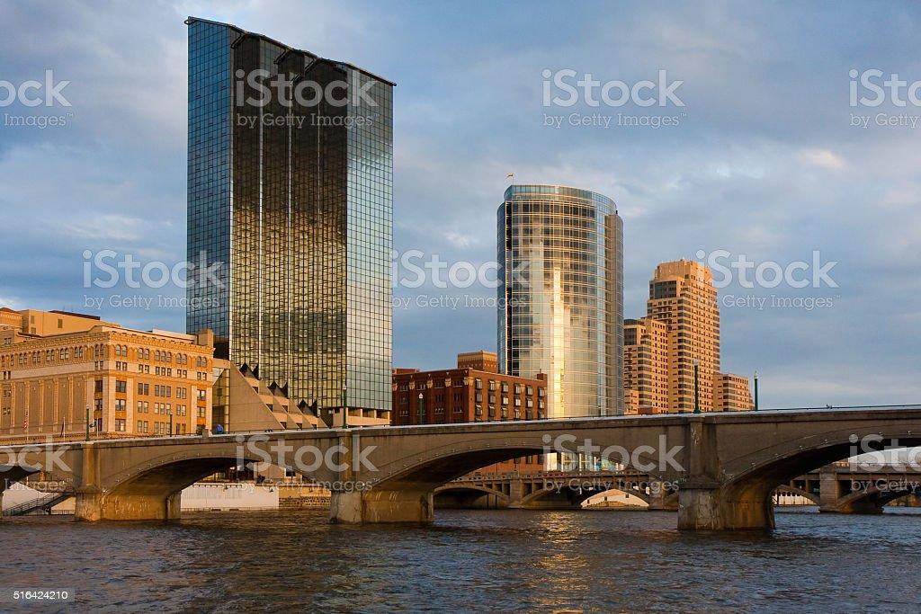 Grand Rapids, MI Skyline stock photo