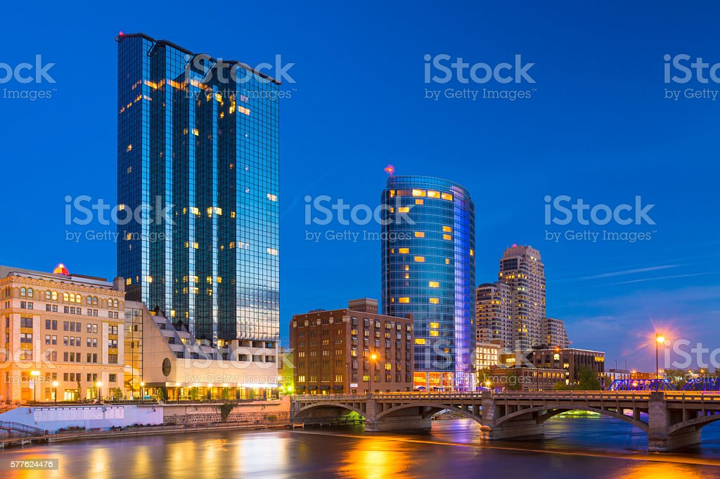 Grand Rapids Skyline and River at Dusk stock photo