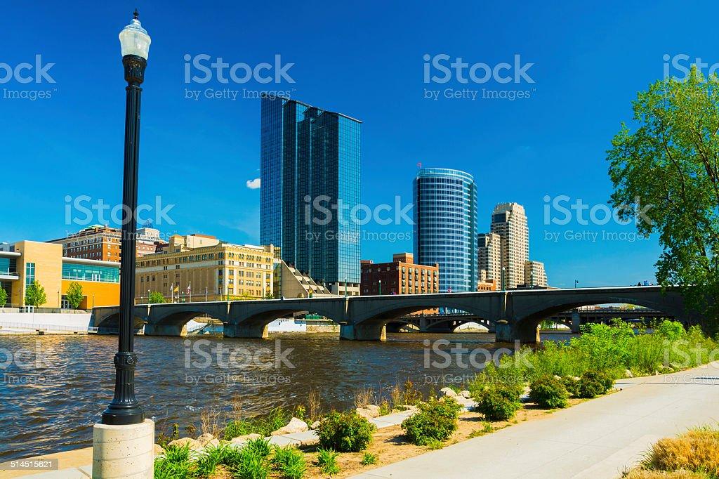 Grand Rapids skyline scene stock photo