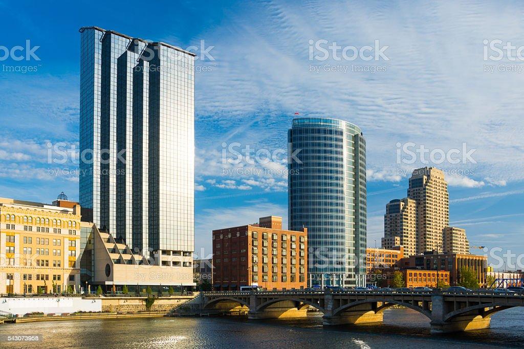 Grand Rapids Skyline with River and Bridge stock photo
