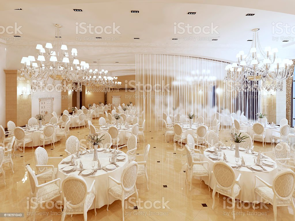 Grand restaurant and a ballroom in a luxury hotel. stock photo