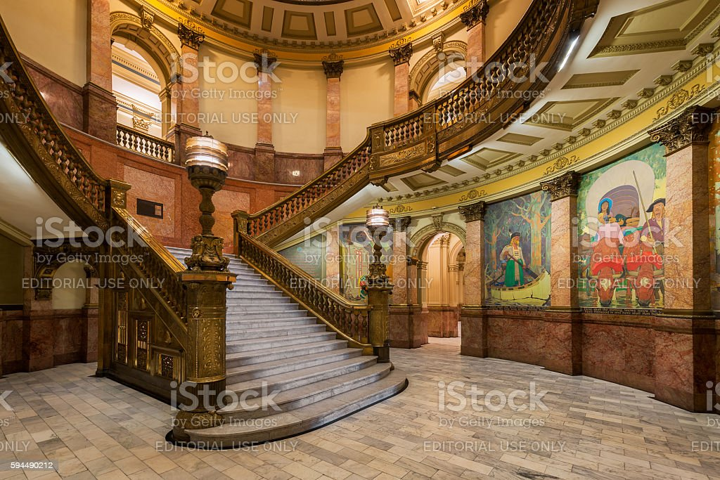 Grand Staircase in Colorado State Capitol stock photo
