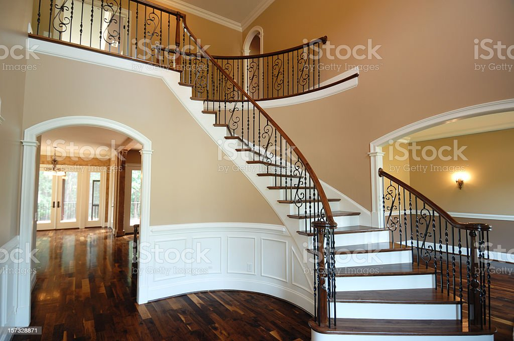 Grand staircase of a beautiful house stock photo