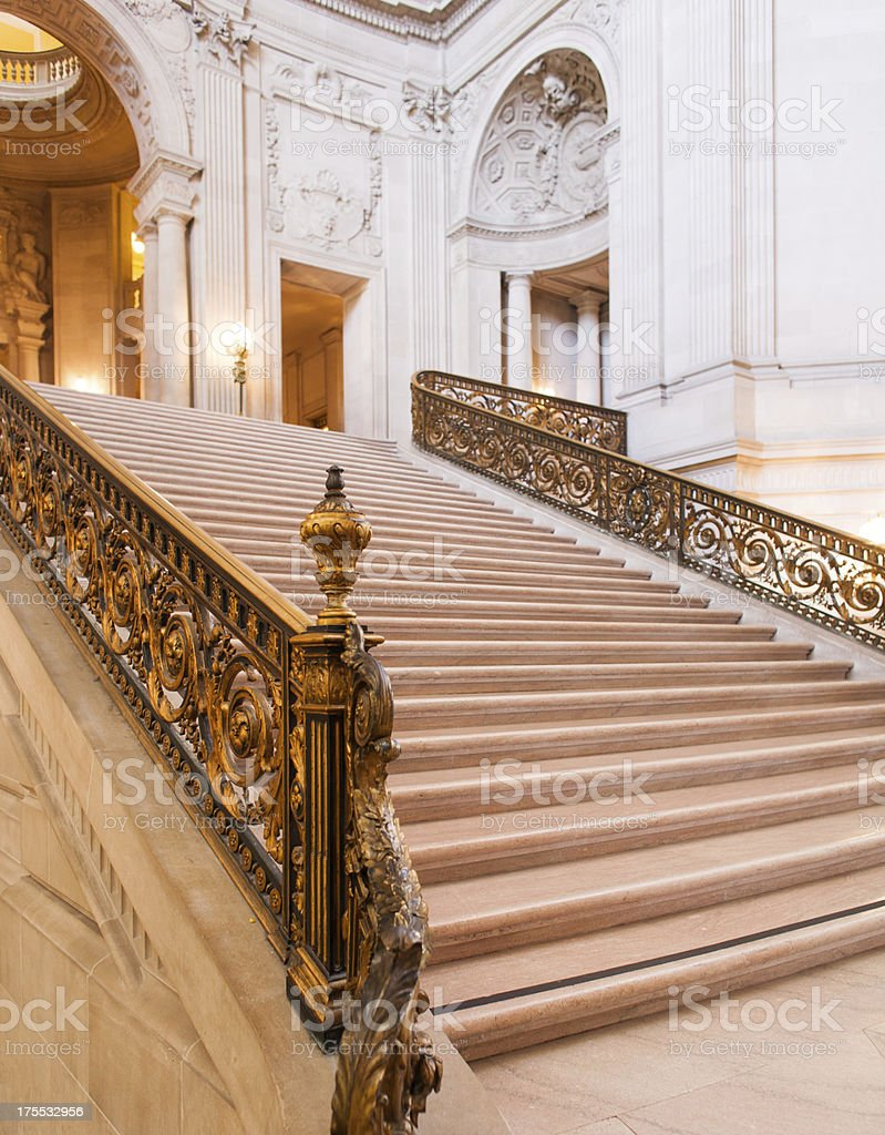 Grand staircase of San Francisco City Hall royalty-free stock photo