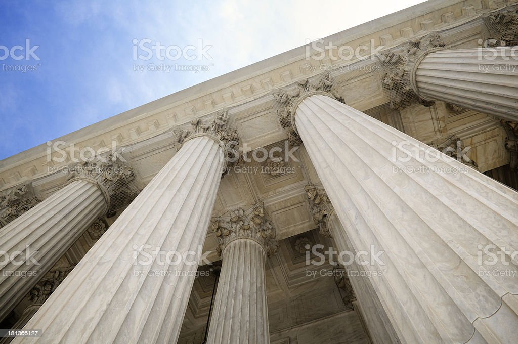 Grand Stone Columns of USA Supreme Court Building Washington DC stock photo