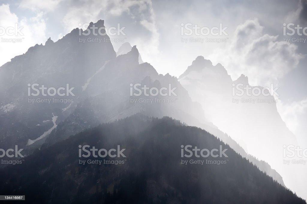 Grand Teton and Mount Owen in Rain Storm stock photo