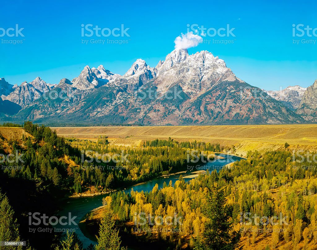 Grand Teton and Snake River in Wyoming stock photo