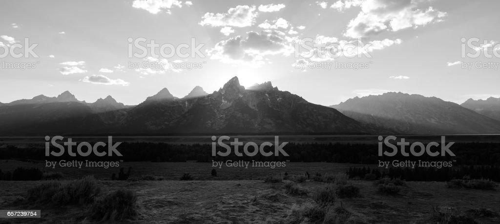 Grand Teton black and white sunset stock photo