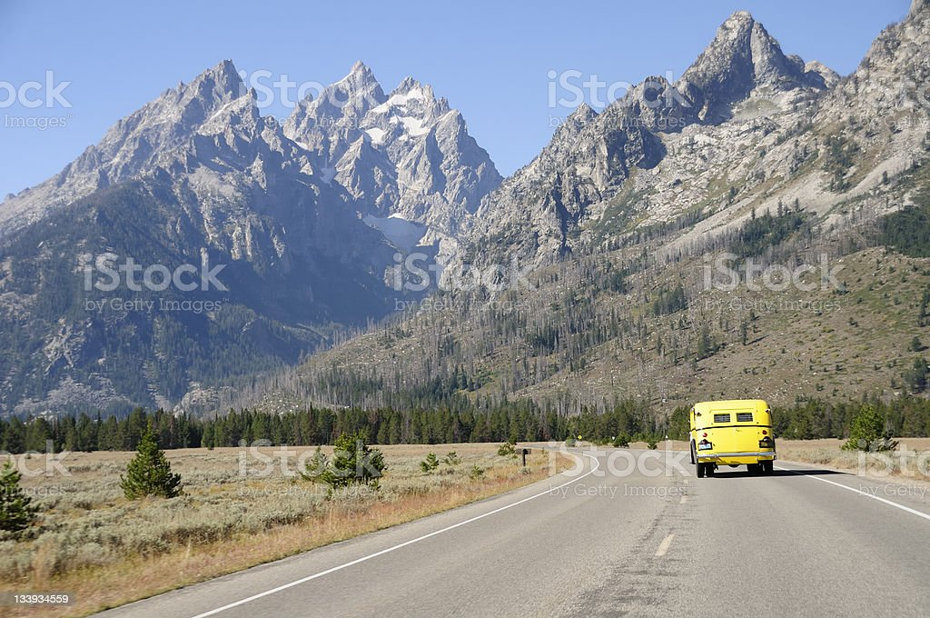 Grand Teton Bus Ride royalty-free stock photo