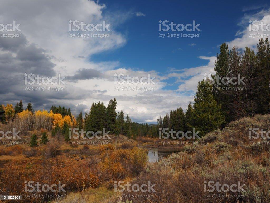 Grand Teton Fall Landscape stock photo