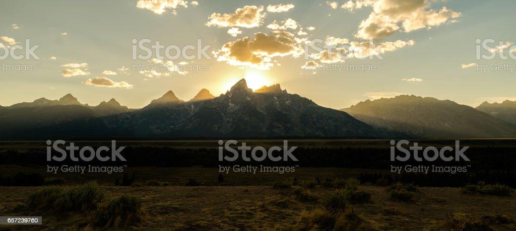 Grand Teton Golden Sunset stock photo