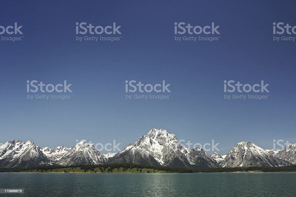 Grand Teton Mountain Jackson Lake Landmark stock photo