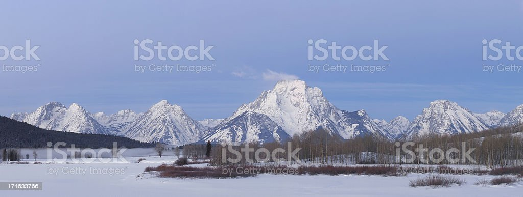 Grand Teton Mountain Range Panorama in Winter royalty-free stock photo