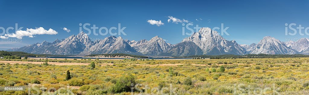 Grand Teton Mountain Range Panorama stock photo