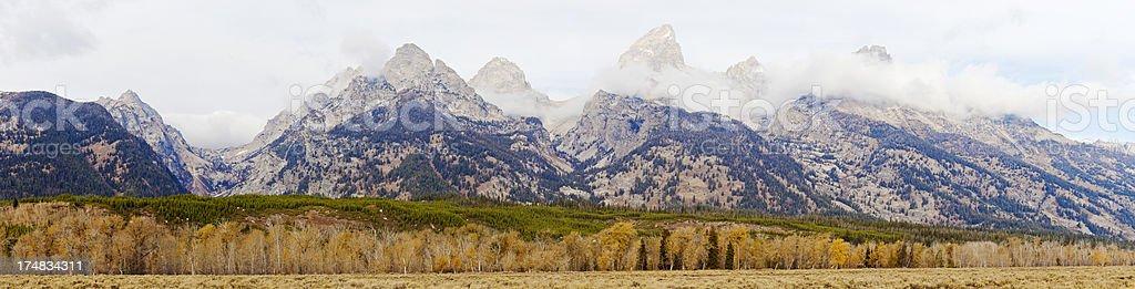 Grand Teton Mountains Panorama In Wyoming, USA royalty-free stock photo