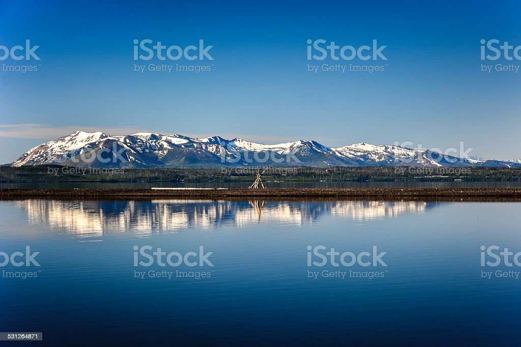 Grand Teton mountains reflected in the Grand Lake in Yellowstone national Park stock photo