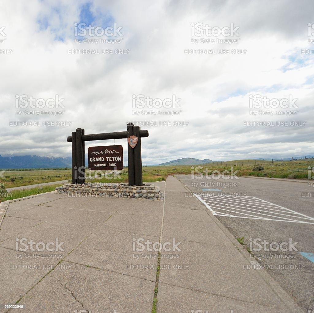 Grand Teton National Park entrance sign stock photo