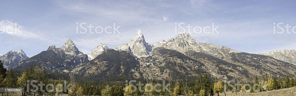 Grand Teton National Park Meadow Panoramic royalty-free stock photo