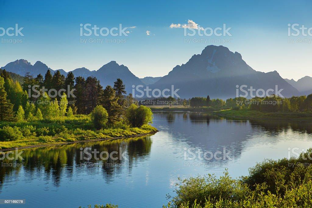 Grand Teton National Park Mountain with Snake River stock photo