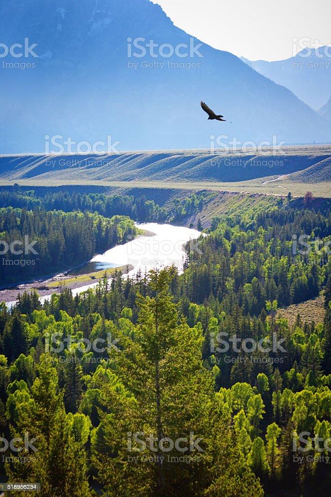 Grand Teton National Park Snake River and Mountain Range stock photo