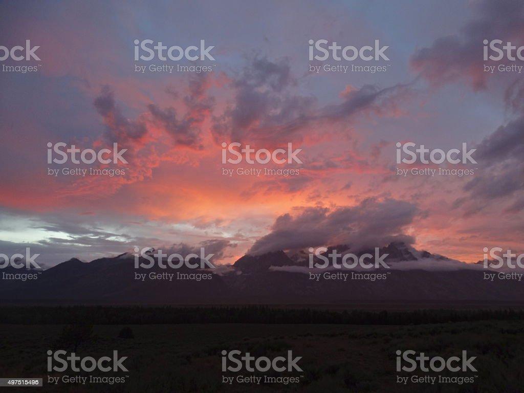Grand Teton Pink Sunset stock photo