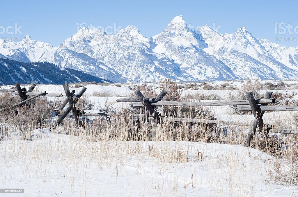 Grand Teton range view stock photo