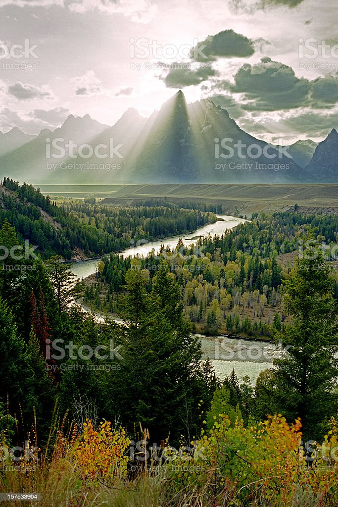 Grand Teton Snake River stock photo