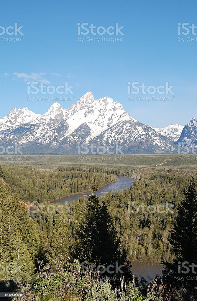 Grand Tetons above the Snake River royalty-free stock photo
