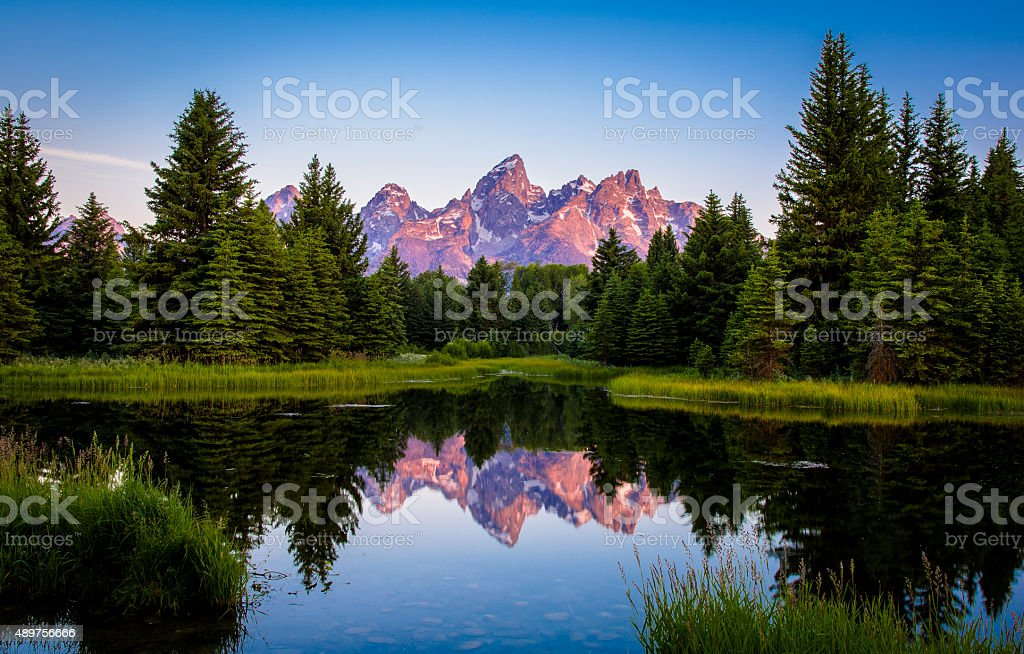 Grand Tetons At Sunrise stock photo