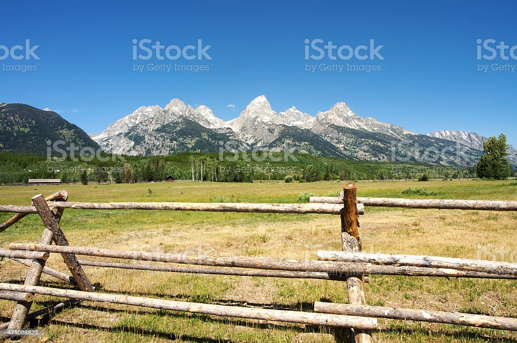 Grand Tetons fenced in royalty-free stock photo