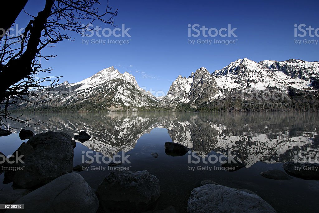 grand tetons from jenny lake royalty-free stock photo