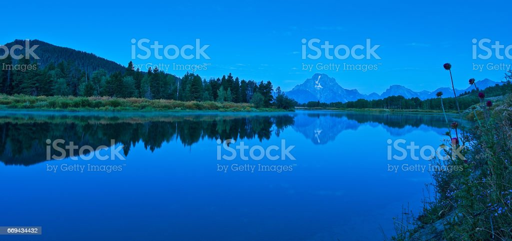 Grand Tetons from Oxbow Bend, Wyoming stock photo