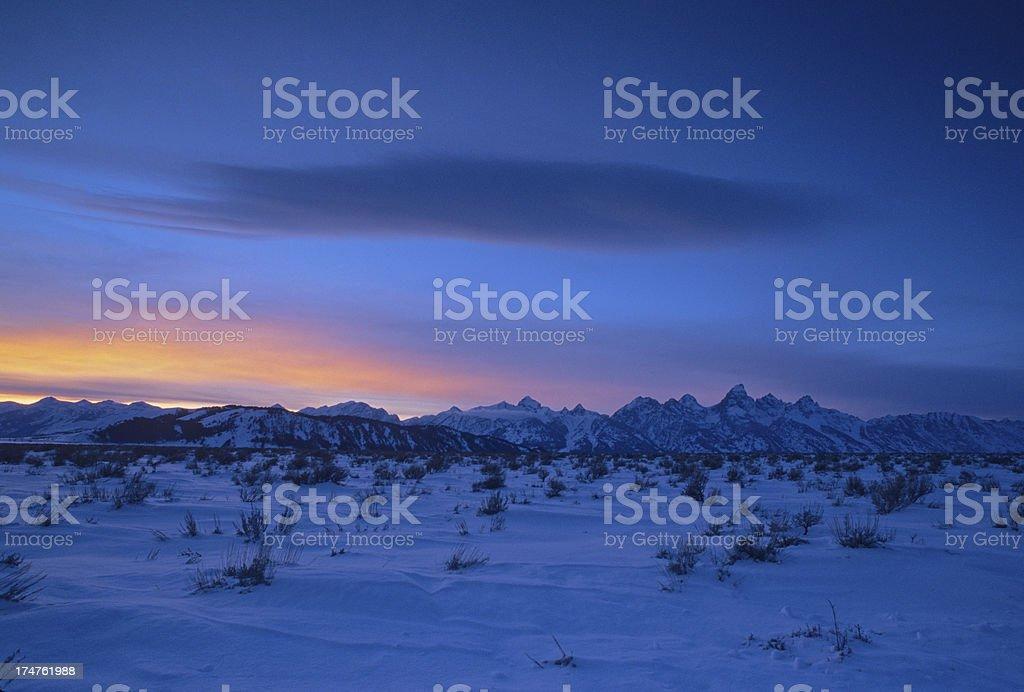Grand Tetons Mountain Range in Winter royalty-free stock photo