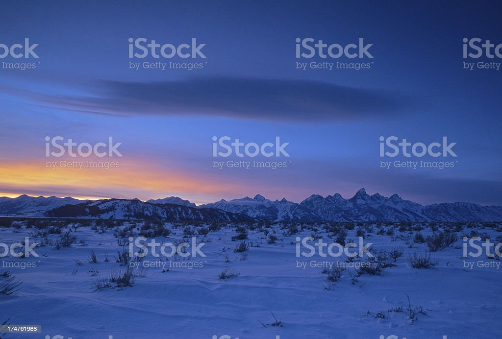 Grand Tetons Mountain Range in Winter stock photo