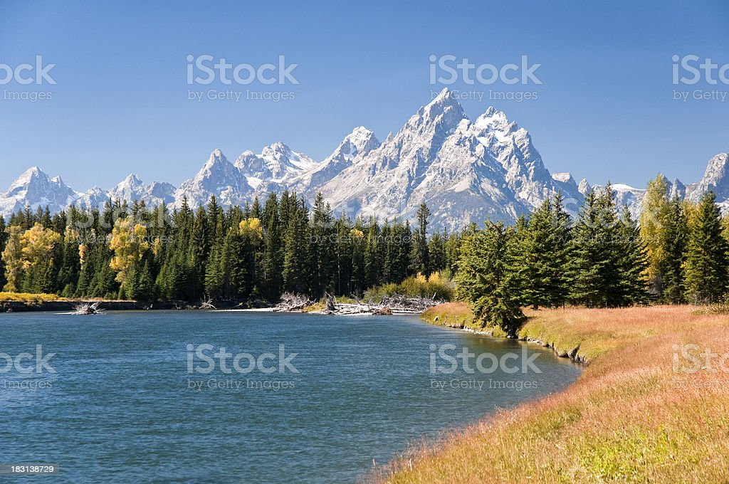 Grand Tetons Mountians and The Snake River royalty-free stock photo