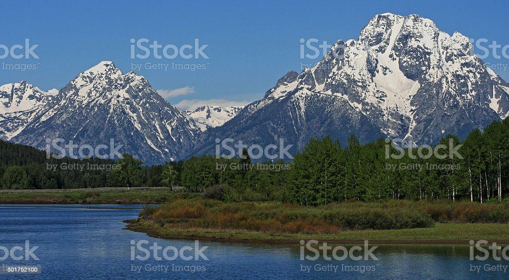 Grand Tetons Mt Moran and Jenny Lake in Wyoming stock photo