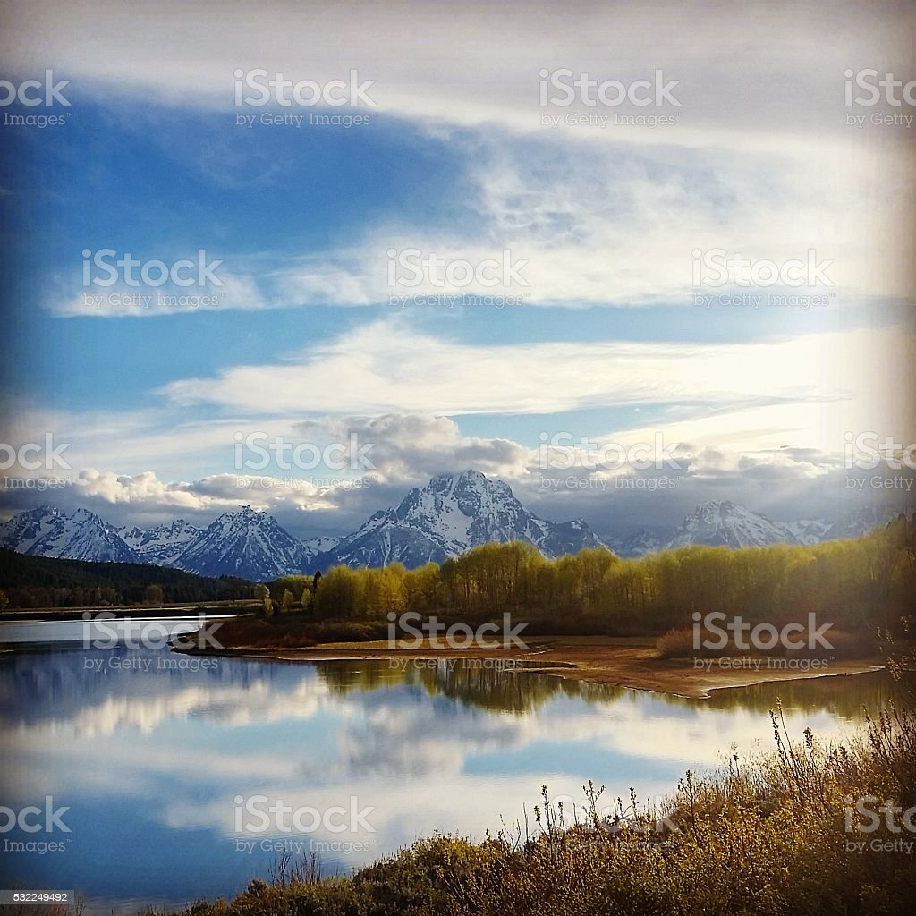 Grand Tetons National Park Nature Landscape in Spring stock photo
