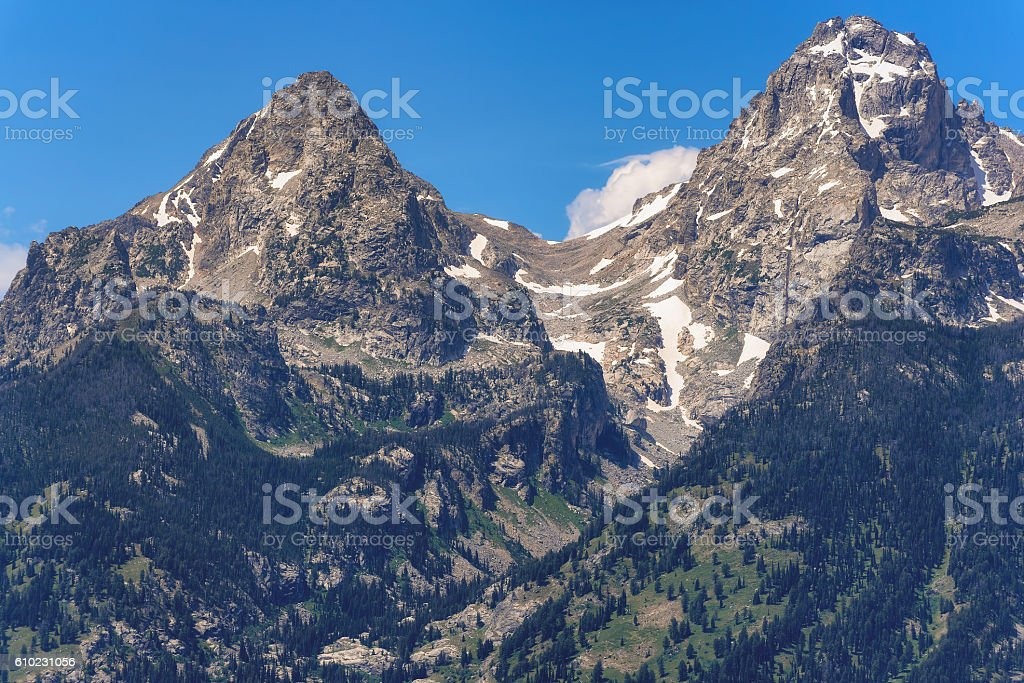 Grand Tetons peaks in Wyoming, US stock photo