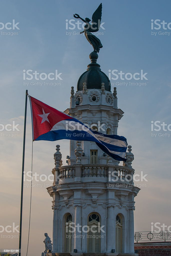 Grand Theatre and Flag.  Havana, Cuba stock photo