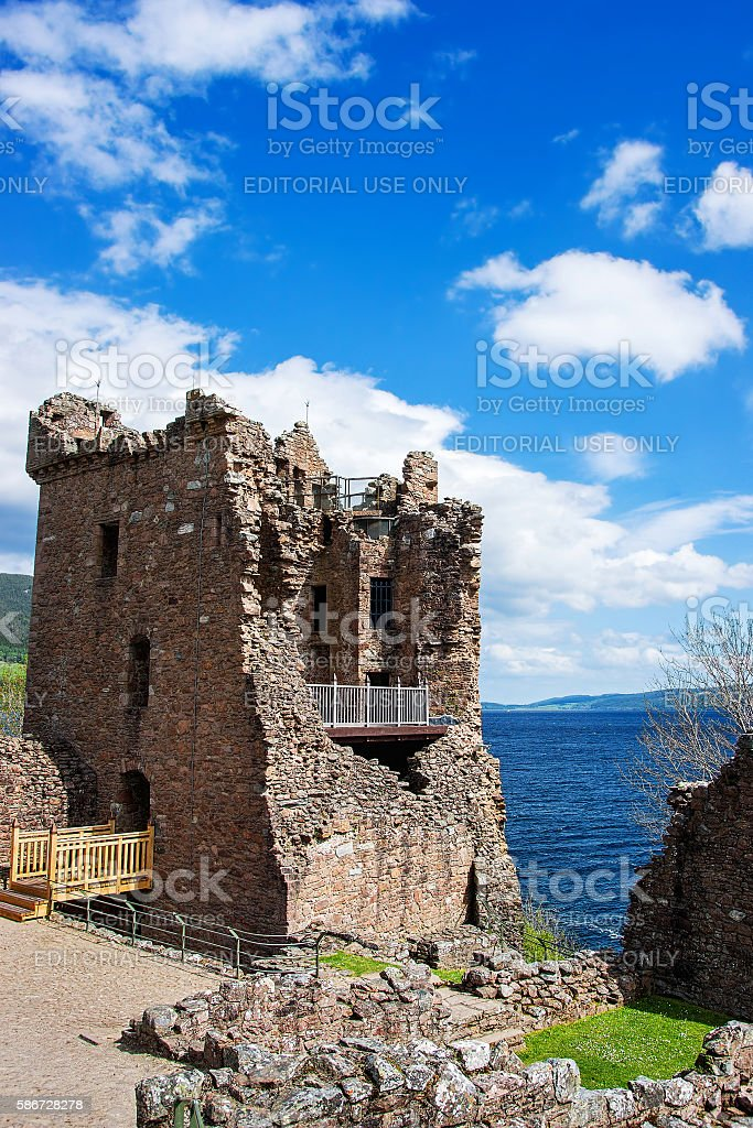 Grand Tower of the Urquhart Castle in Loch Ness Scotland stock photo