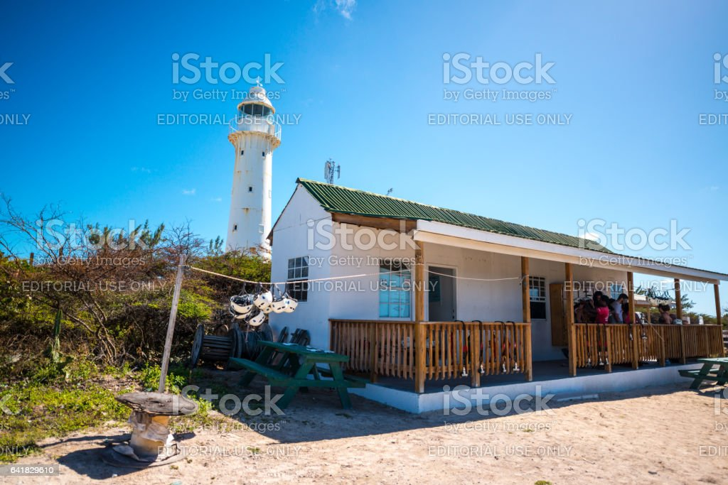 Grand Turk Lighthouse and Adrenaline high wire challenge stock photo
