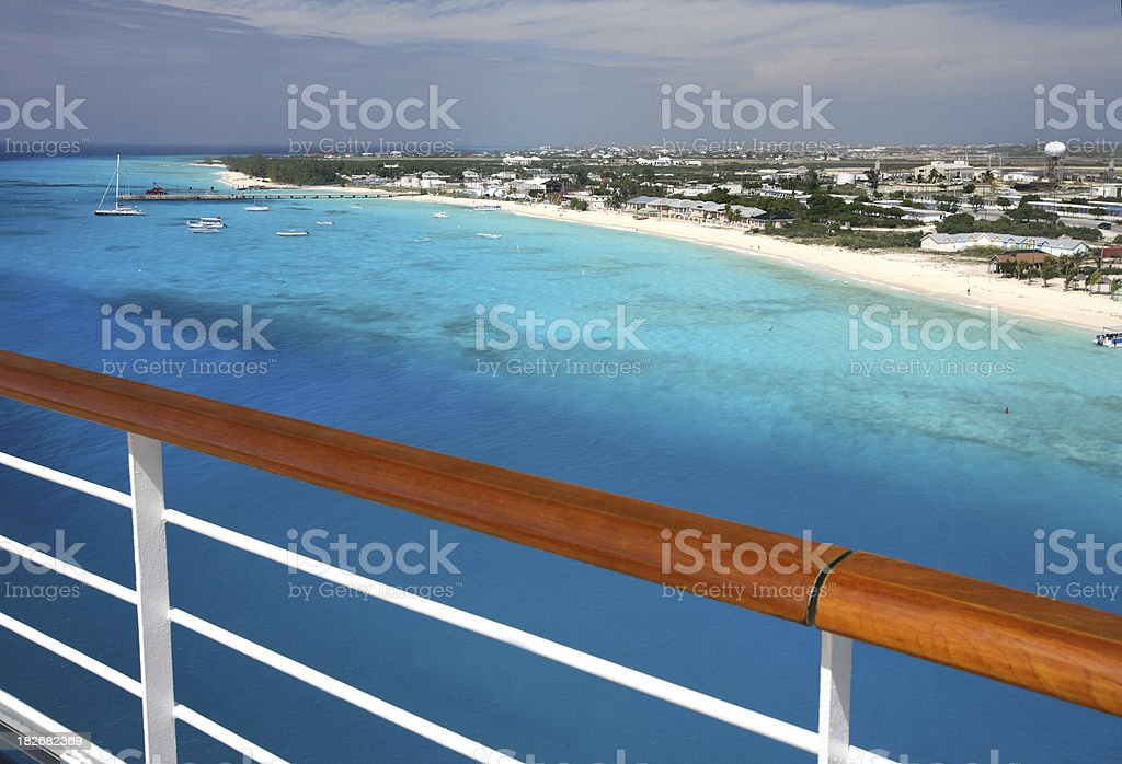 Grand Turks Beaches from Ships Balcony Rail royalty-free stock photo
