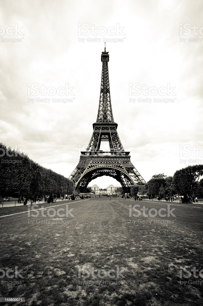 Grand View of Eiffel Tower, Paris, France stock photo