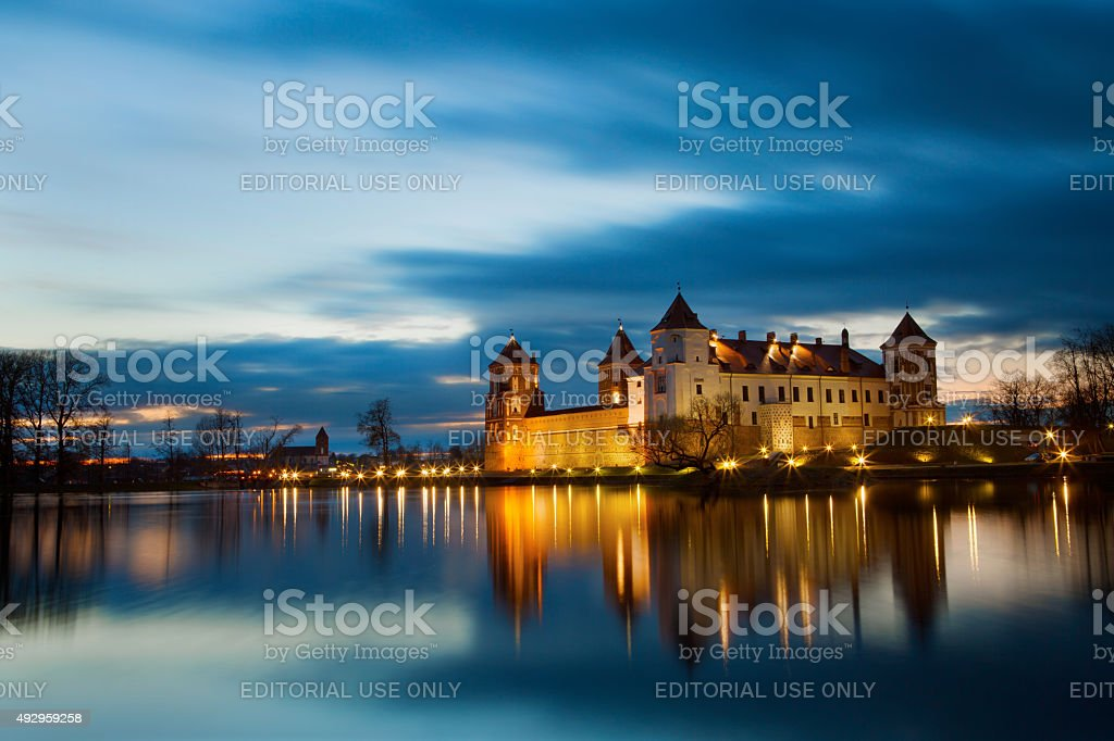 Grand view to Castle of Mir, Belarus. stock photo