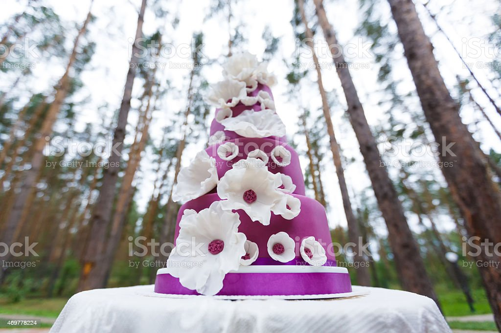 Grand wedding cake with flowers stock photo