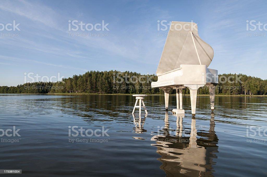 Grand white piano set in a lake stock photo