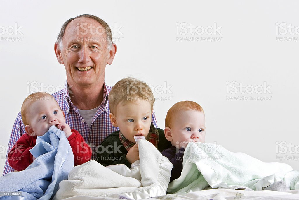 Grandad with grandsons royalty-free stock photo