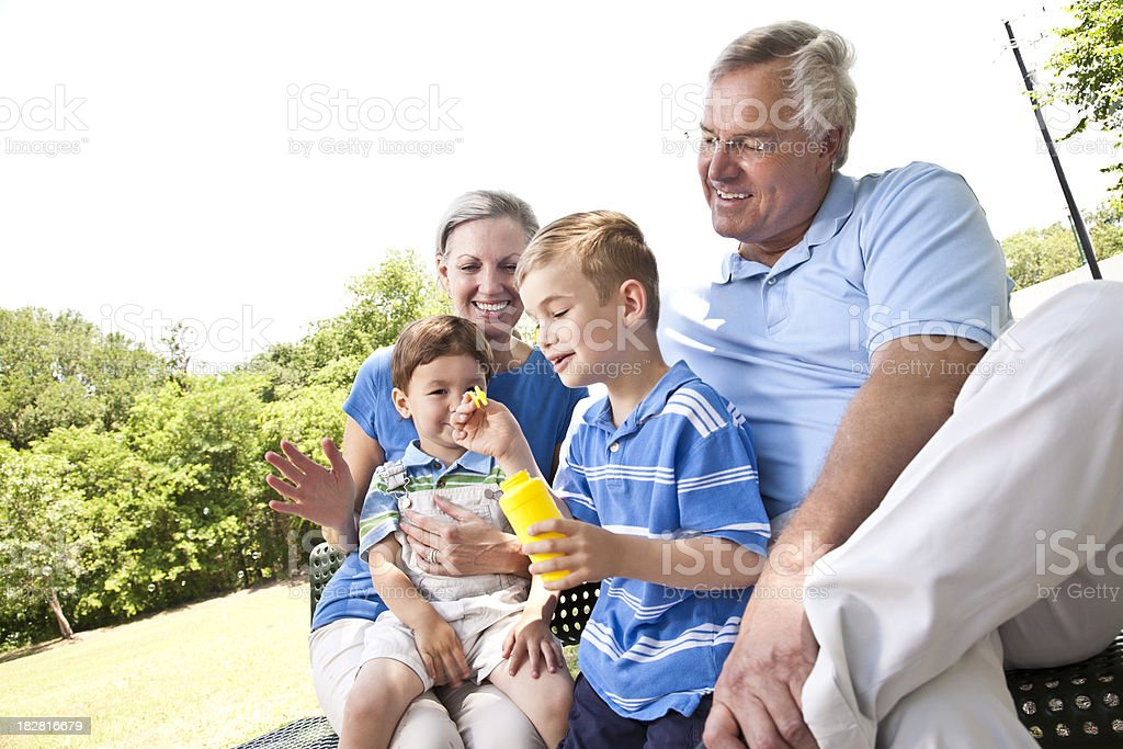 Grandchildren Having Fun With Grandparents at the Park royalty-free stock photo