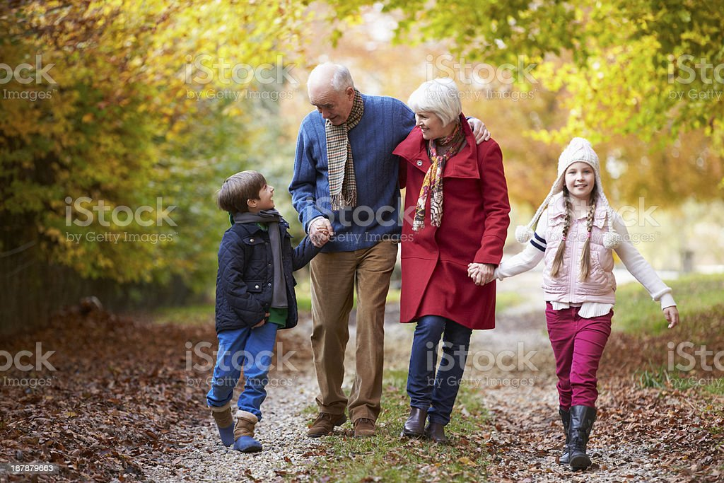 Grandchildren walking with grandparents in Autumn stock photo
