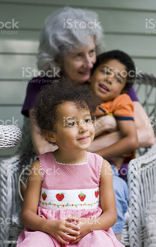 Grandchildren with Grandmother royalty-free stock photo